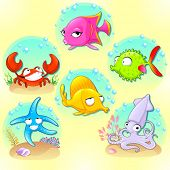 Funny sea animals. Vector cartoon characters with backgrounds.