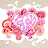 Vector artistic valentine card on the watercolor background with varicolored curls and place in the shape of heart. Decoration design element. Square banner. Hand drawn design element