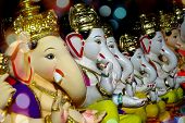foto of ganapati  - Ganesha Idols with different moods and poses for sale during Ganesha festival in India - JPG