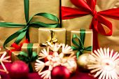 Six Xmas Gifts In Golden Wrapping