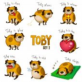 Cute cartoon dog Toby. Set 2