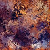 art abstract colorful acrylic and pencil background in orange, blue, brown and violet colors