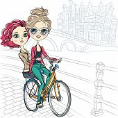 Vector Cute Girls On The Bike In Amsterdam