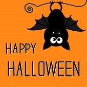 Cute Bat. Happy Halloween Card.