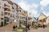 Colmar, France - 18 August, 2014: Modern town street. Colmar is the most popular tourist destination