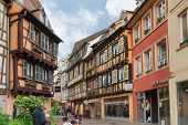 Colmar, France - 18 August, 2014: old town street. Colmar is the most popular tourist destination in
