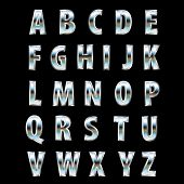 3d steel alphabet with reflection of the landscape