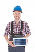 Confident Repairman Holding Solar Panel