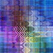 art abstract colorful graphic background; geometric border stylized pattern in blue, green and viole