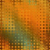 art abstract pixel geometric seamless pattern; background in orange, brown, green and gold colors