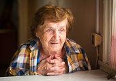Portrait of a smiling elderly woman.