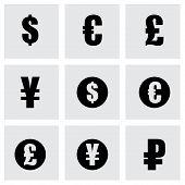 Vector black currency symbols  icons set