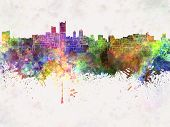 Leeds Skyline In Watercolor Background