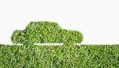 Green Car Symbol From Grass Isolated