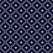Navy Blue And White Fleur-de-lis Pattern Textured Fabric Background