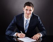 Young Businessman Signing Contract At Desk