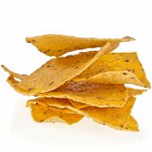mexican  chip nacho snack with pepper isolated on white
