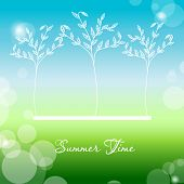 Summer landscape background in green and blue colors. Vector background for web and mobile design. Corporate style and identity version. Wallpapers, website and banners design.