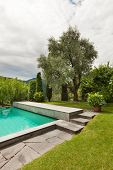 house with swimming pool, outdoor, view from the garden