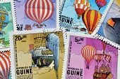Hot air balloons on stamps