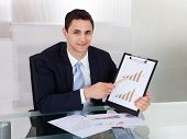 Confident Businessman Showing Graphs In Office