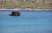 Shipwreck And Sailboat At Imeri Gramvousa Bay. Crete. Greece