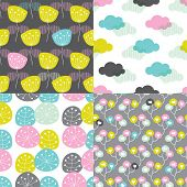 colorful poppy flower blossom and clouds summer illustration background collection set pattern in ve