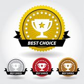 Best Choice Sticker And Sign With Cup And Stars