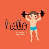 Weight lifting cool bodybuilder boy illustration vintage style postcard design in vector