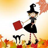 Cartoon witch  Halloween Cat