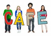 DIverse People Holding Text Cafe