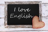 I love English written on chalkboard, close-up