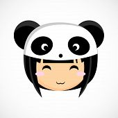 Face of a little cute girl in costume panda. Illustration. Beautiful background.