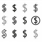 Dollars Sign Icon Set, Dollar Logo Template