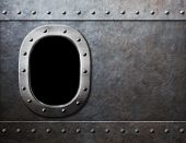 foto of ironclad  - ship or submarine window steam punk metal background - JPG