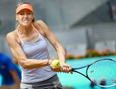Maria Sharapova In Action During The Mutua Madrid Open 2013 World Tour Masters 1000