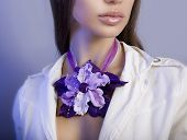 Romantic Style: Fashion Studio Shot Of Beautiful Woman With A Floral Necklace (jewelery Made Of Poly