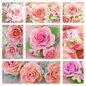 Beautiful Roses, Romantic Style: Collage Of A Polymer Clay Jewelery: Floral Jewelery Made Of Polymer