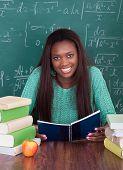 Female Teacher Writing In Book At Desk
