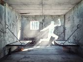 escape from a prison cell. 3d concept