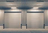 foto of roller shutter door  - Shutter door or rolling door outside factory - JPG