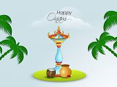 Illustration of  colourful illuminated standing lamp with traditional pot, coconut and coconut trees