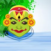 Image of kathakali dancer face decorated of pearl and many colour on floral decorated background.