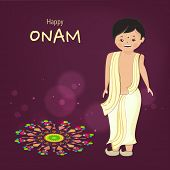 Little cute boy wearing south indian dress and standing with very happyness for celebration of onam