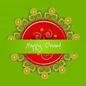 Illustration of beautiful rangoli with stylish text on center on green background.