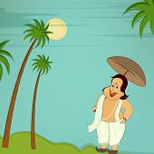 Illustration of the king Mahabali in comic way holding an umberella, trees, sun and sky on nature ba