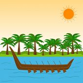 South Indian festival Happy Onam celebrations with wooden snake boat in the river and coconut trees.