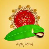 Illustration of beautiful rangoli, banana leaf and illuminated oil lit lamp on light yellow background.