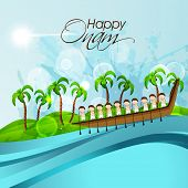 stock photo of tree snake  - South Indian people participating in Snake Boat Racing in river with coconut trees and stylish text on nature background - JPG