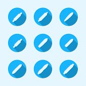 Flat vector icons for longboard